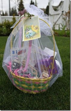 Vintage hand-filled Easter baskets..no store bought for us. I got the most clever, cool candy & stuff in mine. I got a Beatles album in my basket one year, too