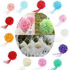 15cm Silk ribbon Foam Rose Flower Ball Artificial Bouquet Kissing Ball Wedding Centerpiece Decorations