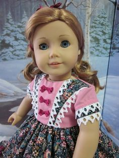 a12f7b1e94b 1850 s Pink and Black Floral Dress for American Girl Dolls