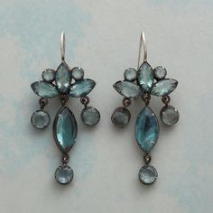 "PALATIA CHANDELIER EARRINGS -- Jane Diaz brings a fresh perspective to the classic chandelier earring, framing faceted apatite in oxidized sterling. Sterling silver wires. 2""L."
