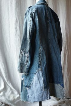 patchwork jeans coat by lesfourruresdaline on Etsy