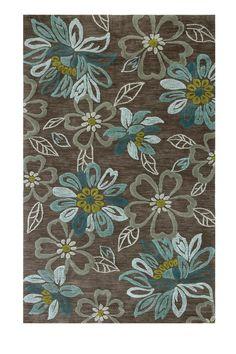 Brown/Teal/Cream floral area rug