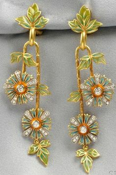 Spain, 18kt gold, plique-a-jour enamel, and diamond ear pendants, Masriera, each designed as trailing vines suspending flowers and leaves, full-cut diamond accents, signed, boxed.