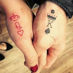 What does king & queen tattoo mean? We have king & queen tattoo ideas, designs, symbolism and we explain the meaning behind the tattoo. Couple Tattoos Love, Love Tattoos, Beautiful Tattoos, New Tattoos, Tatoos, Ankle Tattoos, Couples Matching Tattoos, Couples Hand Tattoos, Married Couple Tattoos