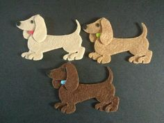 3 felt Dachshund dogs die cuts, embellishments, crafts. Made from Marianne Collectible Dies