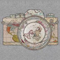 Travel dibujos 'Travel' Sticker by taszyn Travel Sticker, Illustrator, Laptop Stickers, Tatoos, Tatting, Vintage World Maps, Patterns, Camera Art, Camera Drawing