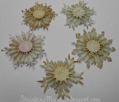 Vintage Rosette Snowflakes.  Free SVG cutting file on my Blog.  ShrinkingMimsy.blogspot.com