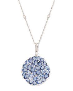 P8175 Rina Limor Signature Slice-Cut Sapphire & Diamond Pendant Necklace