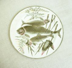 "Antique Wedgwood Majolica Argenta Triple Fish Plate 8 3/4"" (12 Available)"
