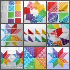 Quilt Block Patterns: Starflower Quilt Block Tutorial at Ellison Lane Star Quilt Blocks, Star Quilts, Quilt Block Patterns, Pattern Blocks, Quilting Tutorials, Quilting Projects, Quilting Designs, Quilting Tips, Half Square Triangle Quilts