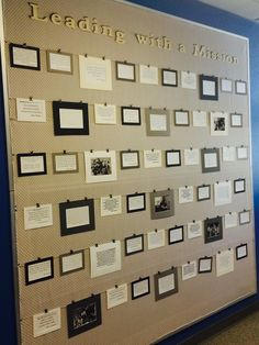wall with individual teacher mission statements displayed - for mms precepts?