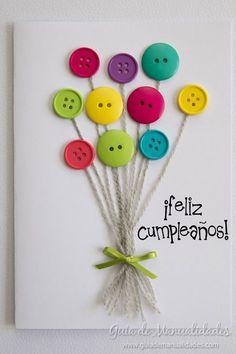 Preciosa tarjeta con botones #manualidades #DIY