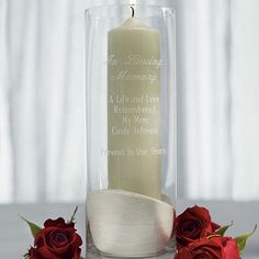 The In Loving Memory 11 x 4 personalized glass memorial candle holder will help shine a lasting light in remembrance of a family member or dear friend at your wedding ceremony and reception or any special celebration.