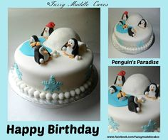 Penguin cake Penguin Cakes, Penguin Party, Winter Wonderland Party, Cakes And More, Let Them Eat Cake, Yum Yum, Cake Ideas, Penguins, Christmas Ideas
