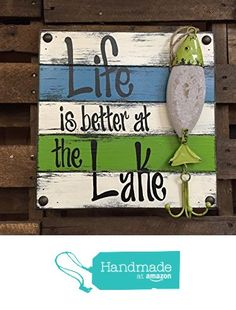 Reclaimed Pallet Wall Fish Sign - Life is better at the Lake Lake House Signs, Lake Signs, Beach Signs, Pallet Painting, Pallet Art, Pallet Signs, Pallet Crafts, Wooden Crafts, Painted Signs