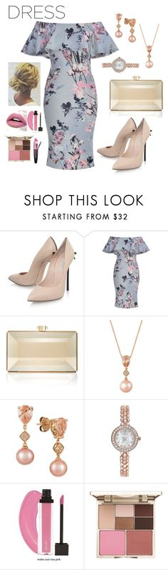 """Off-shoulder Dress"" by leslie-aaron ❤ liked on Polyvore featuring Casadei, Judith Leiber, LE VIAN, Charter Club, Stila and L'Oréal Paris"