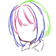 Drawing Hair Tutorial, Manga Drawing Tutorials, Anime Drawing Styles, Anime Drawings Sketches, Anime Sketch, Drawing Techniques, Drawing Tips, Art Tutorials, Manga Hair