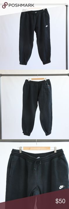 """Nike Black Sweatpants Nike Black sweatpants. Has an elastic drawstring waist. Cuffed elastic ankle bands. Has pockets. 80% cotton and 20% polyester. Approx. 29.5"""" inseam on the pants. Nike Pants Sweatpants & Joggers"""