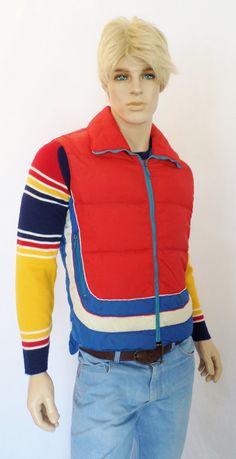 Vintage Men's 1970's WHITE STAG CoLoR BLocKed MoD ReTrO Striped DoWn Puffer SKi Vest HiPPiE L