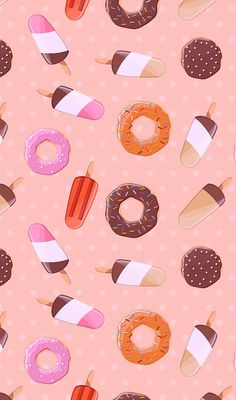 Seamless pattern with ice cream and colorful tasty donuts, vector. Wallpaper Telephone, Cellphone Wallpaper, Iphone Wallpaper, Food Wallpaper, Kawaii Wallpaper, Flower Backgrounds, Wallpaper Backgrounds, Scrapbook Paper, Scrapbooking