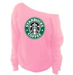 Starbucks Off-The-Shoulder Wideneck Slouchy Sweatshirt These wide neck slouchy sweatshirts are cut symmetrically so you can choose whether you want to wear it off one shoulder or both. Either way, its