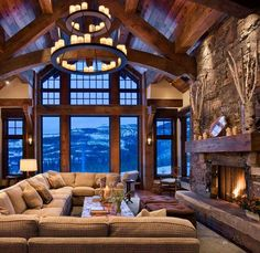 amazing living room for a mountain house or my future house in Jacksonville lol Future House, My House, Chalet Design, Chalet Style, House Goals, Design Case, Wall Design, Ceiling Design, Life Design