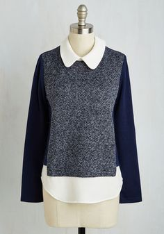 Work Study Wonderful Top. Impress your coworkers with more than just your smarts by showing up to work in this navy blue top! #multi #modcloth
