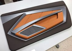 custom door panels inserts, fiberglass, router work.... modern chevelle   #BecauseSS  maybe? brown orange tan beige and black and silver grey mesh, and aluminum, carbon fiber