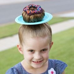 "I just recently realized we could have a LOT more fun with ""Wacky Hair Day"" at the kids' school, than just the normal Mohawk or trillion piggy tails. I mean, what's more fun than DONUT HAIR!!! Come over to the blog to see how I made Chloe the happiest kindergartener this week.....PLUS, 24 super clever Wacky Hair Day ideas!!! You're going to just die over them! Click for link @makeitandloveit"