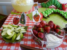 Hungry caterpillar food table using pictures from book as labels.