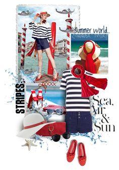 """sea & stripes"" by sagramora ❤ liked on Polyvore"