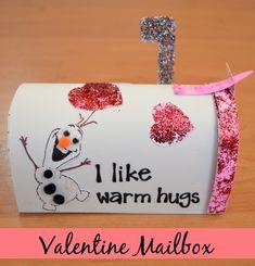 Olaf Valentine Mailbox with Elmer's glitter and glue - One Artsy Mama