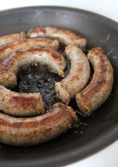 Medisterpølse med Agurkesalat (Danish pork sausage with cucumber salad)