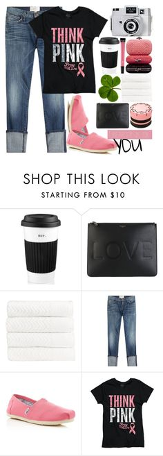 """""""I wear pink for you..."""" by bleucabbage ❤ liked on Polyvore featuring The Cellar, Holga, Givenchy, Christy, Current/Elliott, TOMS, Victoria's Secret, Pink, black and toms"""