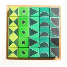 Grafische blokken - groen - Grimm's (Spiel und holz)