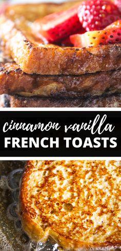 Cinamon French Toast, Vanilla French Toast, Sweet Breakfast, Breakfast Dishes, Breakfast Recipes, Breakfast Ideas, Breakfast Toast, Awesome French Toast Recipe, French Toast Custard Recipe