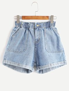 Shop Blue Elastic Waist Rolled Hem Denim Shorts online. SheIn offers Blue Elastic Waist Rolled Hem Denim Shorts & more to fit your fashionable needs.
