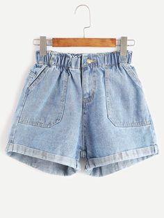 Shop Blue Elastic Waist Rolled Hem Denim Shorts online. SheIn offers Blue Elastic Waist Rolled Hem Denim Shorts & more to fit your fashionable needs.