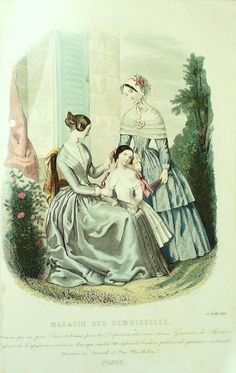 GRAVURE de MODE AUTHENTIQUE-X164-MAGASIN DEMOISELLES-ROBES EN SATIN-1846