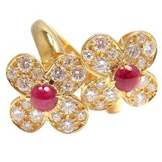Van Cleef & Arpels - Diamond, Cabochon Ruby & Yellow Gold Double Flower Ring