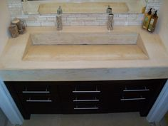 Concrete Vanity, Double Sink / Single Basin ~ LOVE For Master Bath!