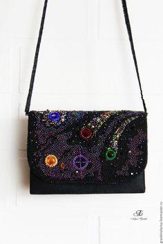 521c58817fc9 Купить Сумочка с кристаллами вышитая бисером Космос - космос, черный,  орнамент, сумка с рисунком