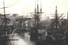 French Naval Port of Brest, ca - One of the Oldest Surviving Photographs of the Wooden Sailing French Fleet. Bateau Pirate, Old Sailing Ships, Ship Of The Line, Ship In Bottle, Wooden Ship, Brest, Navy Ships, Royal Navy, Water Crafts
