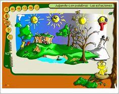 """""""Jugando con palabras: Las estaciones"""", del Gobierno de Canarias, presenta un variado número de actividades para trabajar el vocabulario en Educación Infantil, a la misma vez que desarrolla la prelectura, todo ello alrededor del centro de interés de las estaciones del año. Las actividades están pensadas para su utilización en gran grupo a través de la pizarra digital y para que luego se puedan trabajar en el rincón de informática de modo individual."""