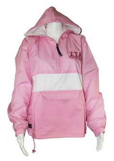 Rain on your Race for the Cure? Don't you wish you had a Pink & White Stripe Pullover Jacket?