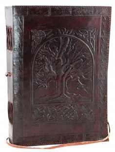 A beautiful journal that conveys a sense of age and mysticism, the large Tree of Life leather blank book is a beautiful journal whose cover features the hand-tooled design of the Tree of Life. Contain
