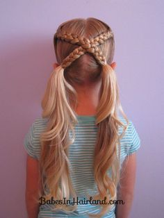 Letter X Hairstyle- This would be cute flipped up into a messy bun! =D