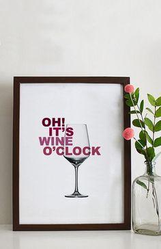 Typo/Druck Zeit für Wein // print/poster oh, it's wine o'clock via DaWanda.com