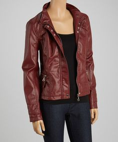 Another great find on #zulily! Oxblood Snap Placket Faux Leather Jacket by Dollhouse #zulilyfinds