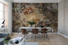 With Palette, Rebel Walls encourages a more personal, curious and brave approach to colors. Find your perfect color match within the wall mural co Wallpaper Paste, Rose Wallpaper, Wall Wallpaper, Fresco, Italian Paintings, Italian Baroque, Photo Mural, Palette, Dining Room Walls